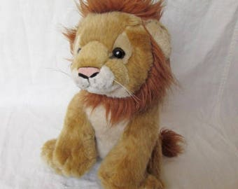 PMS Soft Sensations Plush Stuffed Lion Soft Toy Used Condition 8 1/2 inches