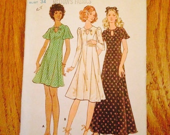 Rare! Vintage Butterick 6444 Dress 70's