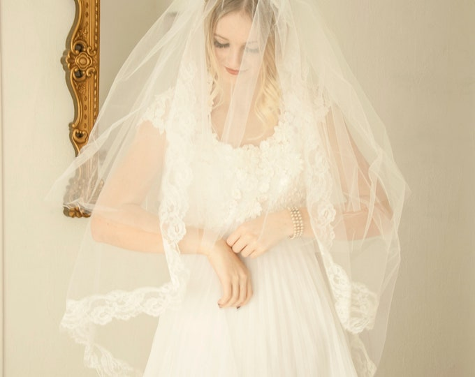 Vintage long wedding veil, white tulle lace pearls beads flower headpiece headband, double layer bridal, 1960s 1970s