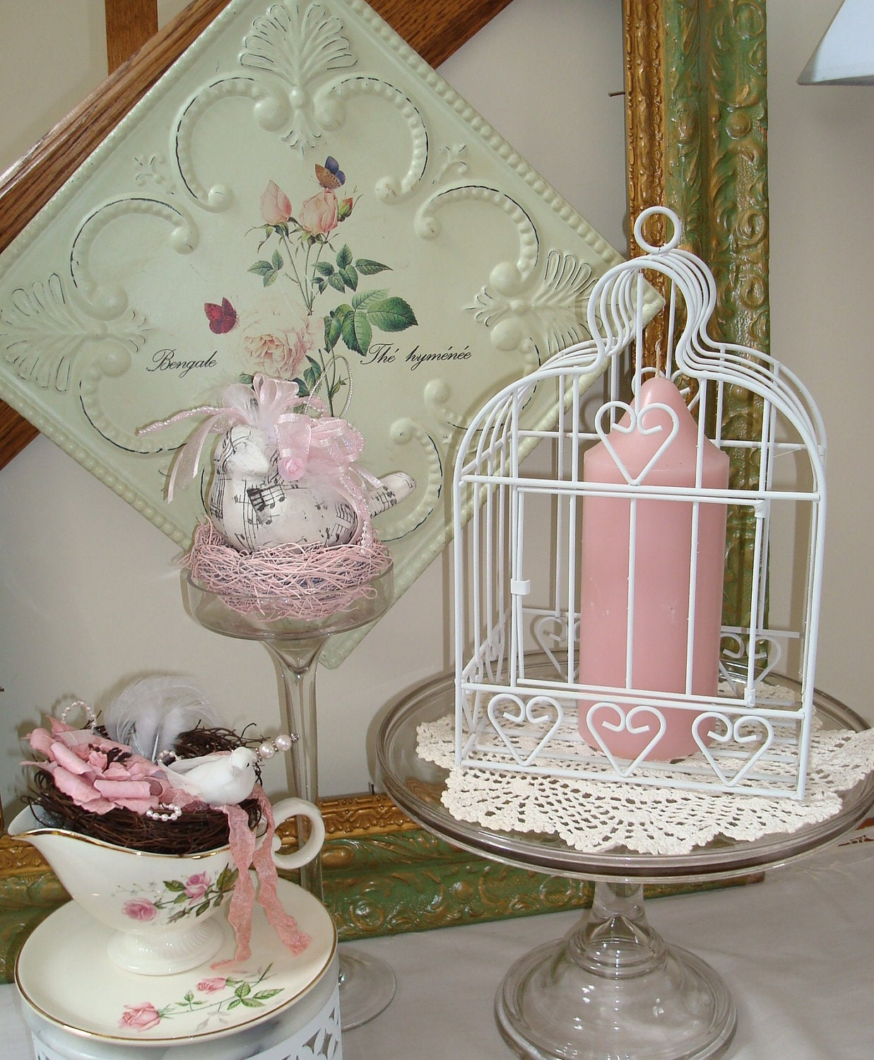 Metal Birdcage-White Home Decor Birdcage-Wedding-Card