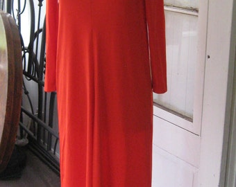 Vintage Designer Lilli Diamond 1970s Coral Qiana Nylon / 70s Evening Gown Size Med New with tag