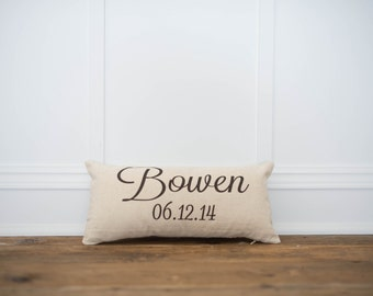 Personalized Name & Date Pillow Cover