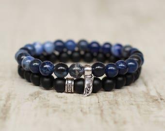 eagle bracelet men blue bracelet stack present boyfriend gift for husband present bird bracelet beaded american bracelet for men black