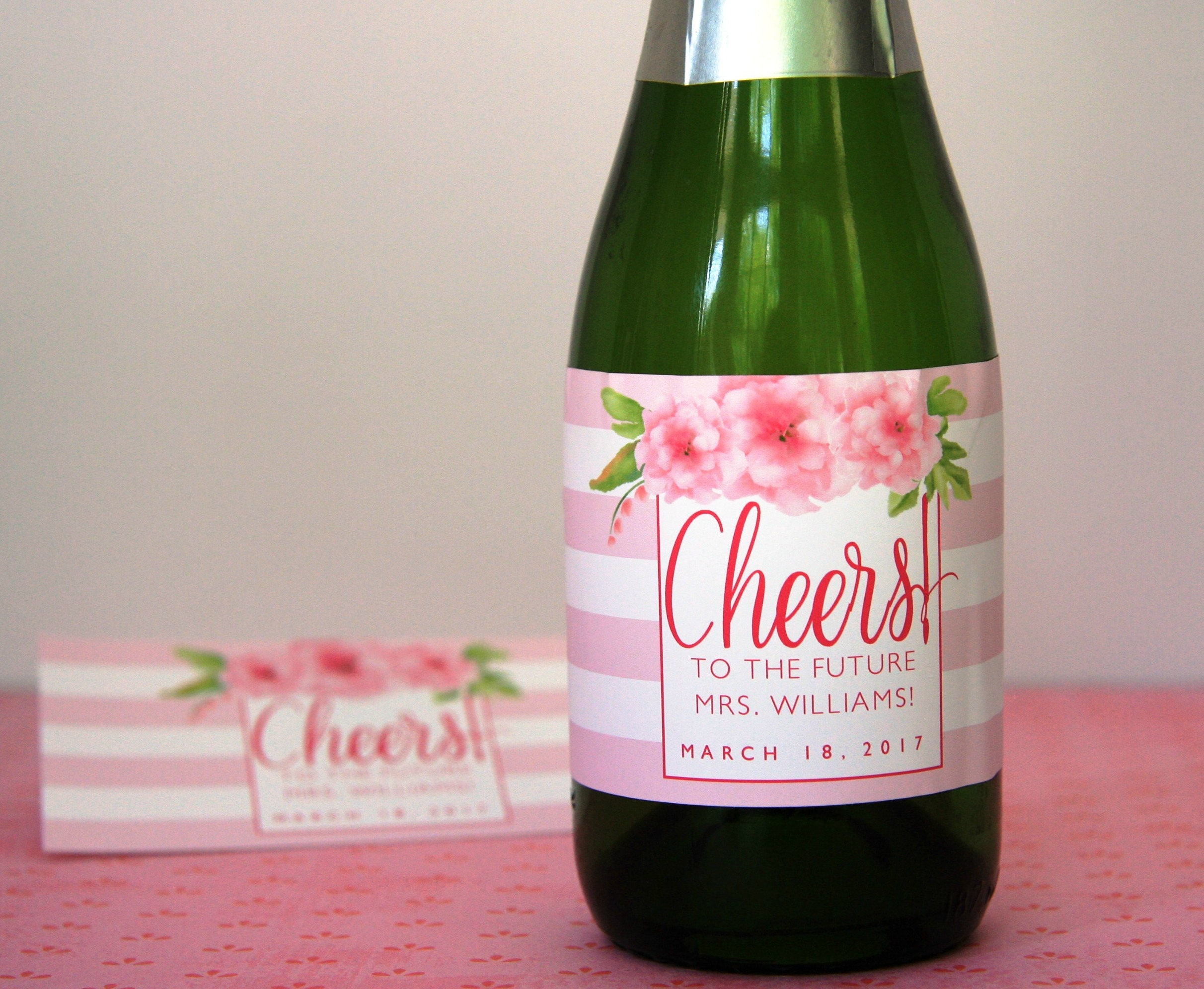 Mini Champagne Bottle Label Bridal Shower Floral Bridal