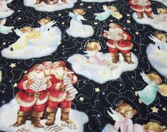 Santas & Angels Fabric Christmas Clouds Very Nice  Fat Quarter New BTFQ