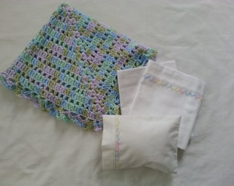 Crocheted Blanket, Sheets, Pillow and Pillow Case for a Doll