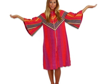 Vintage 70s Cotton Red Robe, Boho Striped Robe, Bohemian Robe, 70s Costume, Made in Israel, Size Small S, Medium M RESERVED FIR MEIRAV