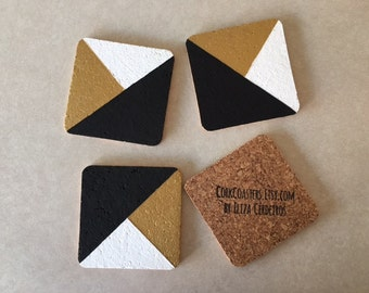 """Black Gold White Abstract 4"""" Square Cork Coasters"""