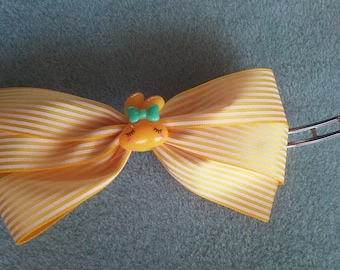 Yellow and White Striped Hair Bow