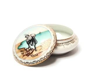 LIMOGES porcelain candy box , Les Sables d' Olonne, French decoration