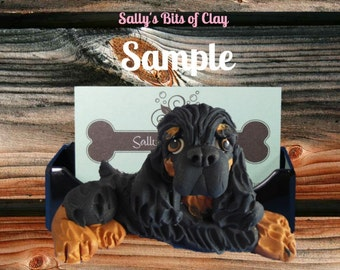 Black and Tan Cocker Spaniel dog Business Card / Cell Phone / Post It Note OOAK by Sally's Bits of Clay