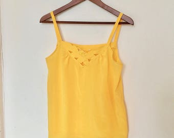 Yellow satin singlet | Flower detail top | Summer camisole | Women's tank top size Small