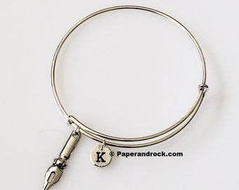 KIDS SIZE - Pen nib initial bracelet, writer bracelet, gift for writer, gift for calligrapher, silver pen bangle, teacher gift, calligraphy