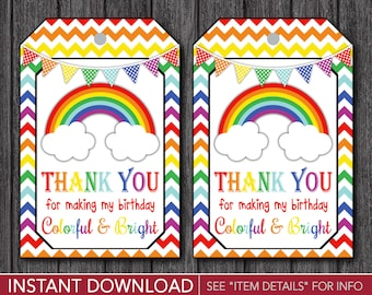 Rainbow Favor Tags - Rainbow Thank You Party Favor Tags - Printable Digital File - INSTANT DOWNLOAD
