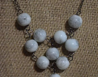 Marbled bead statement necklace