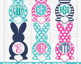 Monogram SVG Files Set of 6 cutting files SVG/PNG/jpg Commercial use easter svg bunny svg bunny ears (colors/monograms for display only)