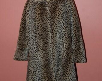 Leopard Faux Fur Swing Coat Funky Vintage Luxurious Warm Winter Jacket