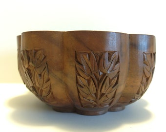 Grieg N Marks Hand Carved in Walnut Bowl Dish Wood Nut Bowl Carved with Leave Design Vintage Walnut Bowl