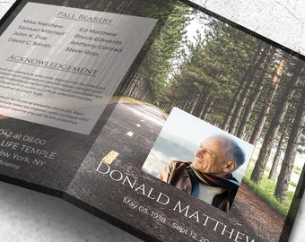 The Open Road Funeral Program, Memorial Program Template Editable with Microsoft Word | Instant Download