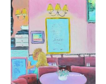 PARIS cafe art, Paris art, miniature art, Paris painting, cafe painting, coffee shop painting, kitchen painting, Etsy art, by Jan Matson