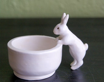 white bunny bowl - small salt/sugar bowl - one of a kind