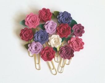 Rose feltro fiore graffette, clip Planner, Gold Jumbo graffette, COLORI PERSONALIZZATI, disponibili in massa