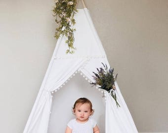 White Pompom teepee, kids Teepee, tipi, Play tent, wigwam or playhouse with canvas and Overlapping front doors