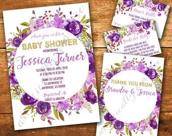 Purple Flower Baby Shower Invitation Bundle - Custom Digital PDF