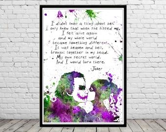 Harley Quinn and Joker inspired, Harley Quinn and Joker quote, Watercolor Print,Super Hero, Wall Art,Poster, kids Room decor(2493b)