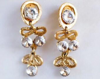 Vintage 80s Gold & Rhinestone Clip-On Earrings