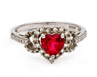 Classic Engagement Ring, Red Heart Ring, Sparkling Stones Ring, Red Spinel Heart, Clear Topaz Accents, Romantic Gifts, Womens Ring Size 7