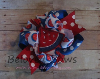Watermellon 4th of July Layered Boutique Style Hair Bow---Embroidered Felt Hair Bow
