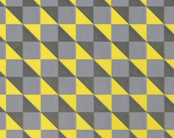 Geo fabric in Iron Gray and Yellow from the London Fog collection by Camelot Fabrics