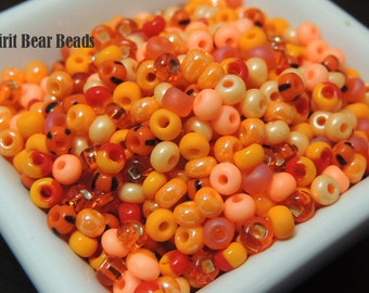 Clockwork Orange Bead Mix  size 6 seed beads 50 grams Fall Halloween Pumpkins