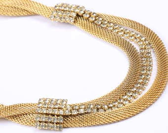Gold Tone Mesh Necklace with Clear Rhinestone