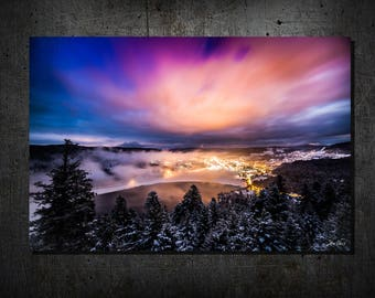 City in the night / / PHOTO print on paper or ALU 3 mm / / Lake Gerardmer photography