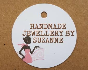 10x Personalised Handmade jewellery tags, handmade tags, swing tags, gift tags, handmade labels, tags, labels, jewellery tags, jewellery