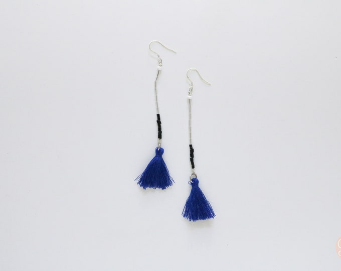 Navy blue Seed bead and tassel statement earrings | Long earrings.