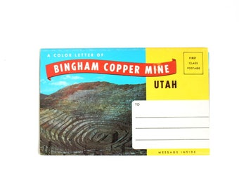 Bingham Copper Mine Folder, Souvenir Folder, Vintage Postcard Book, Bingham Copper Mine, Utah Postcard Book, Utah Souvenir, Accordion Folder