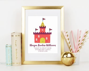 Birth Stats Print, Personalized Nursery Art, Fairy Tale Castle, Castle Birth Stats, Printed and Shipped, 8x10 Inch, Birth Announcement, Baby
