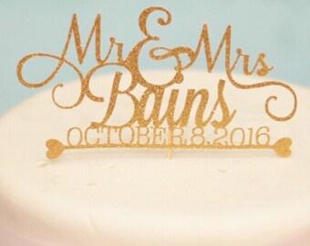 Custom Wedding Cake Topper, Gold wedding cake topper, Whimsical Wedding Cake Topper, Mr and Mrs
