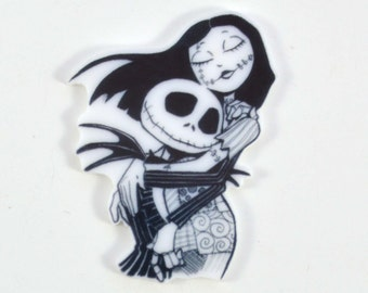 Jack Skellington Sally Black and White Cup Cake Toppers Planar Resin Embellishments