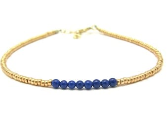 Lapis Lazuli Friendship Bracelet, Gemstone Bracelet, Beaded Bracelet, 24K Gold Glass Beads, Minimal Bracelet, Yoga Zen Modern