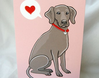 Weimaraner Heart Greeting Card