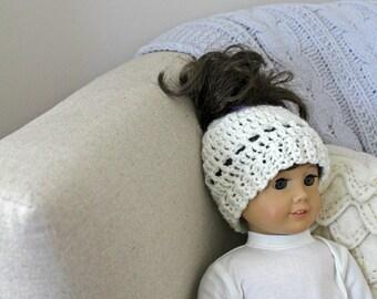 18 Inch Doll Madison Messy Bun   Doll Messy Bun Hat Crochet Pattern   Crochet Doll Hat Pattern   Crochet Doll Bun Hat Pattern   PDF Pattern