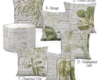 Greenery Botanical on Cool Grey Linen Cotton Pillow Cover - Pillow - 16x16 18x18 20x20 22x22 24x24 26x26 28x28 Inch Cushion Cover