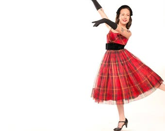 50s Red Plaid Silk Organza Party Dress with Black Velvet Waistband XS