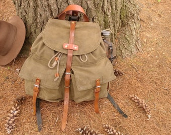 Vintage Waxed Canvas Backpack Rucksack Czech Military Frost River style backpack Geologist bushcraft Duluth pack style