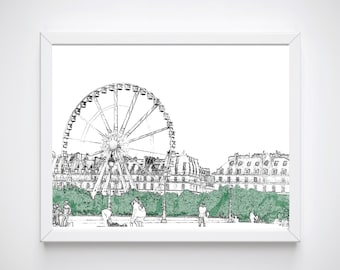 Paris Wall Art, Paris Room Decor, Sketch Print, Paris Art Print, Instant Download, Paris Decor, Paris Art Work, Paris Wall Decor,