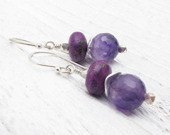amethyst earrings, purple gemstone earrings, amethyst gift, February birthstone, February birthstone earrings, Hill Tribe silver,